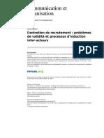 Communicationorganisation 2107 14 l Entretien de Recrutement Problemes de Validite Et Processus d Induction Inter Acteurs(1)