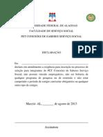 Declaração de não possuir vinculo empregatício para seleção do pet 2013