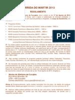 CORRIDA DO MÁRTIR 2013 regulamento
