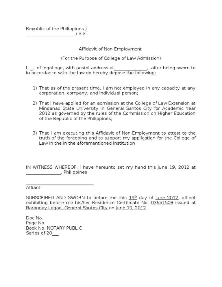 Affidavit on non employmentc yadclub Images