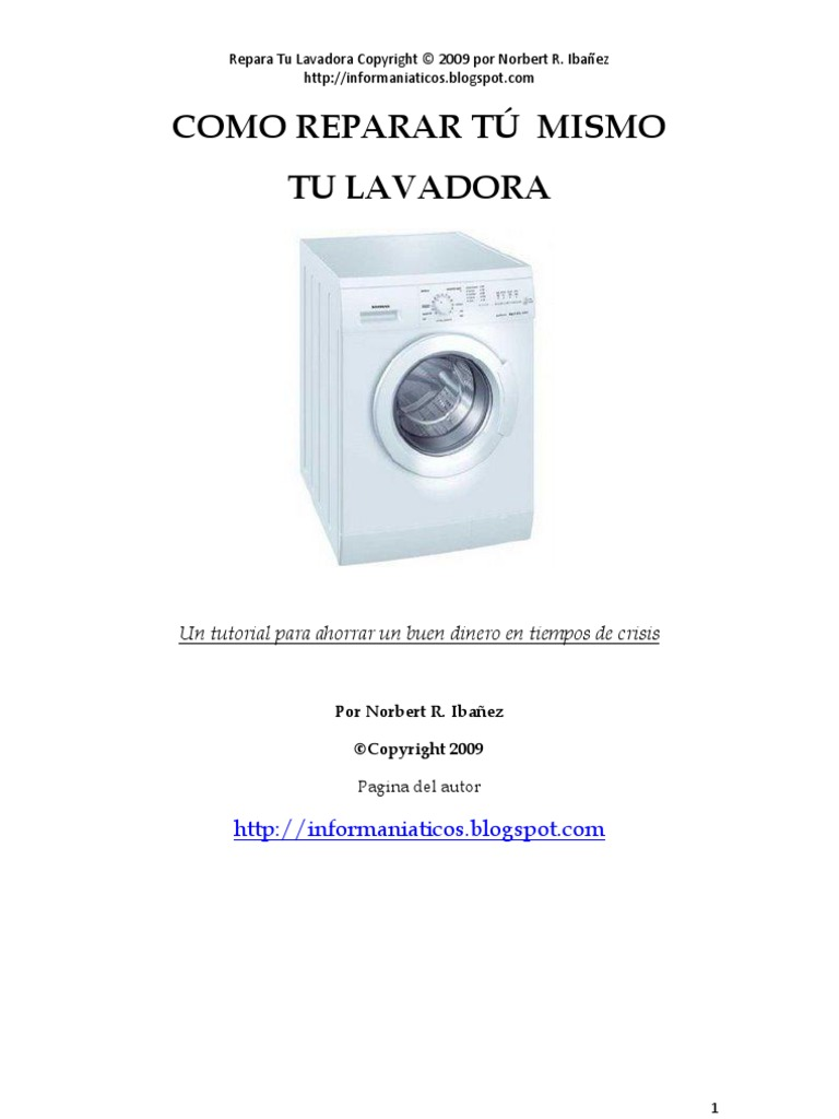 Como reparar tu mismo tu lavadora for Como reparar una lavadora
