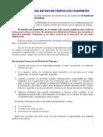 3.1DEFINICIÓN DEL ESTUDIO DE TIEMPOS CON CRONOMETRO