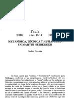 CEREZO GALÁN, Pedro - Metafísica, técnica y humanismo en Martin Heidegger (Taula 13-14, 1990)