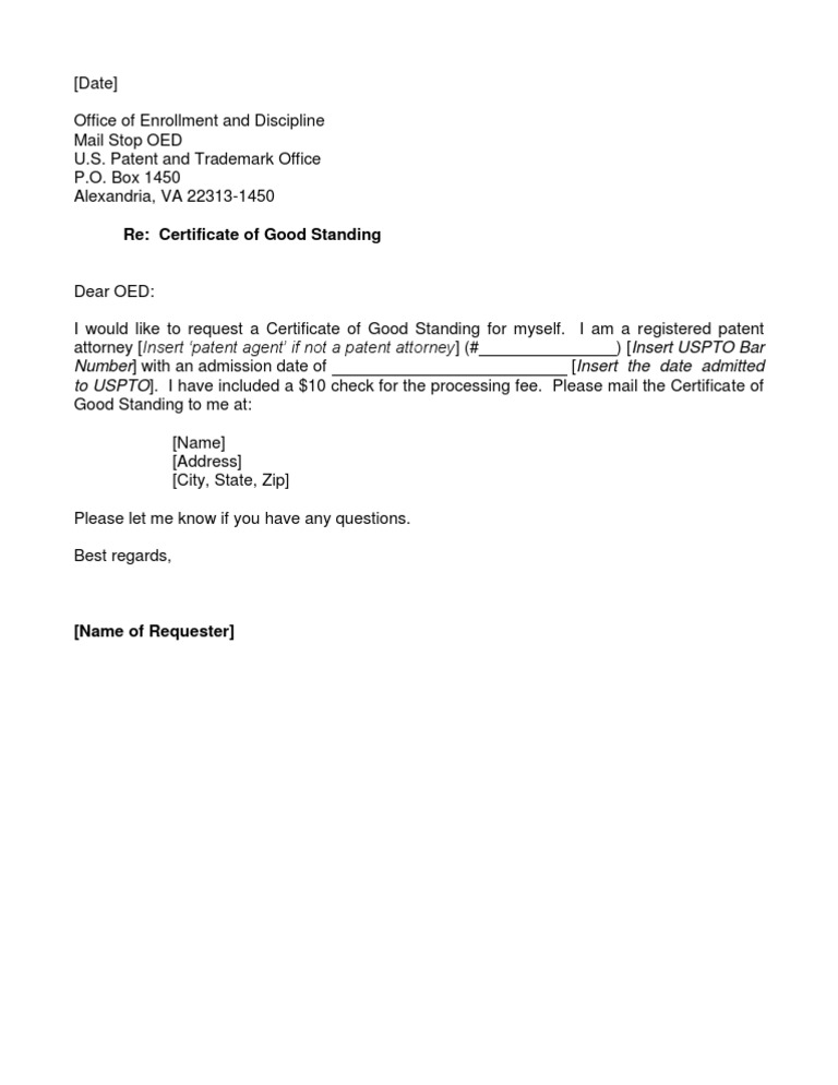 USPTO OED Certificate of Good Standing Request Letter
