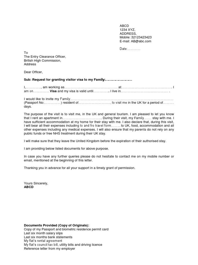 Sample Sponsorship Letter For Uk Visitor Visa From India – Visa Sponsorship Letter