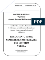 Reglamento Sobre Cementerios Municipales Del Distrito Valera