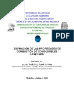 ESTIMACIÓN DE LAS PROPIEDADES DE COMBUATION