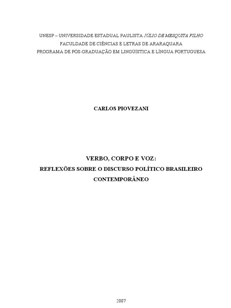 REFLEXÕES SOBRE O DISCURSO POLÍTICO BRASILEIRO b4c2980342cf3
