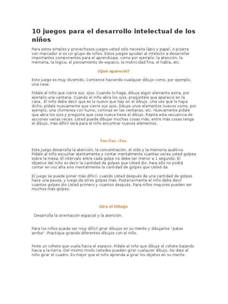 10 Juegos Para El Desarrollo Intelectual De Los Ninos