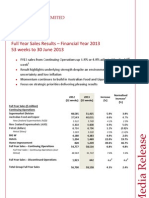WOW - Full Year Sales Results - Financial Year 2013