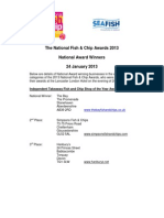 National Fish and Chip Awards - List of Winners - 24 January 2013
