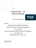 Teacher's Certificate on multiple intelligences