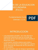 r.e.s. Fundametcion Curricular Ciencias i,II,III