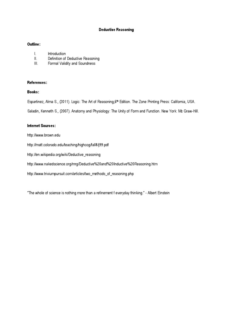 Deductive Reasoning Report | Deductive Reasoning | Argument