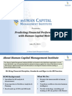 Predicting Financial Performance With Human Capital Metrics Webinar on 07/29/13