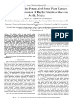 Investigation of the Potential of Some Plant Extracts to Inhibit the Corrosion of Duplex Stainless Steels in Acidic Media