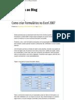 Como criar Formulários no Excel 2007 _V