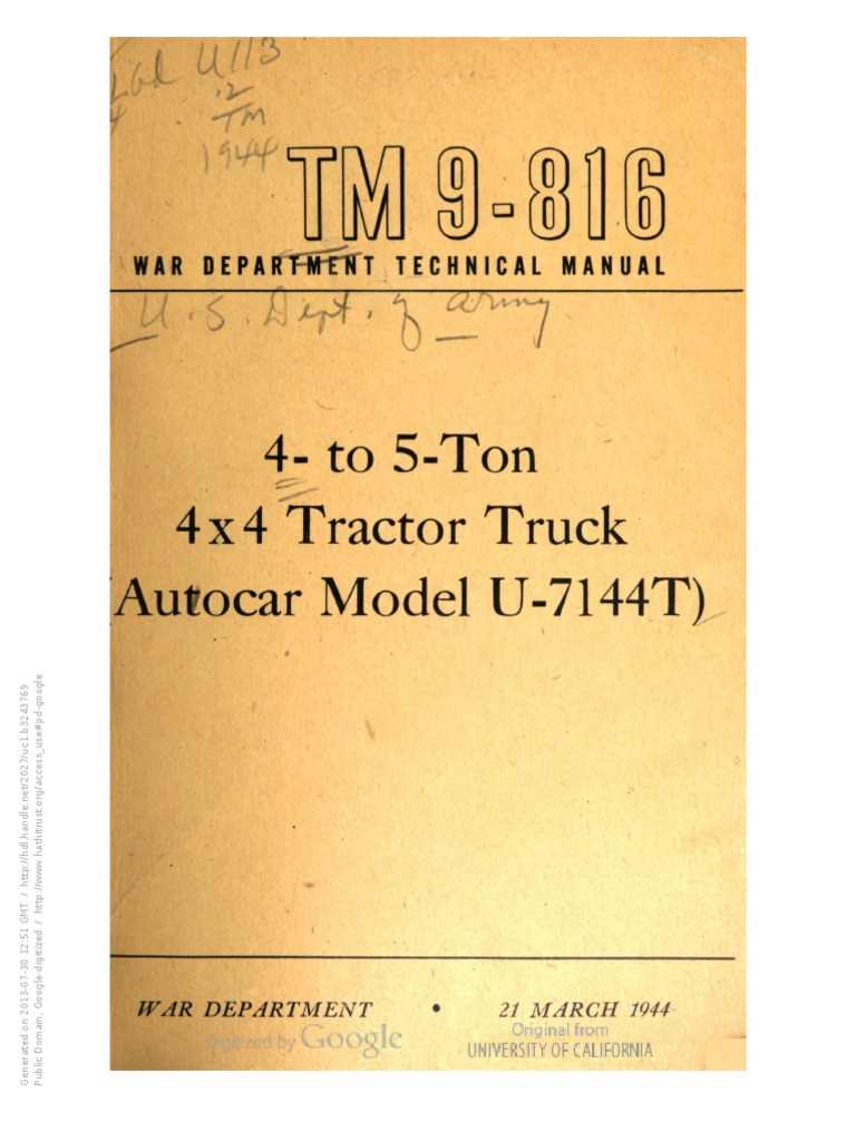 Tm 9 816 Autocar U 7144 Clutch Carburetor Truck Wiring Diagrams