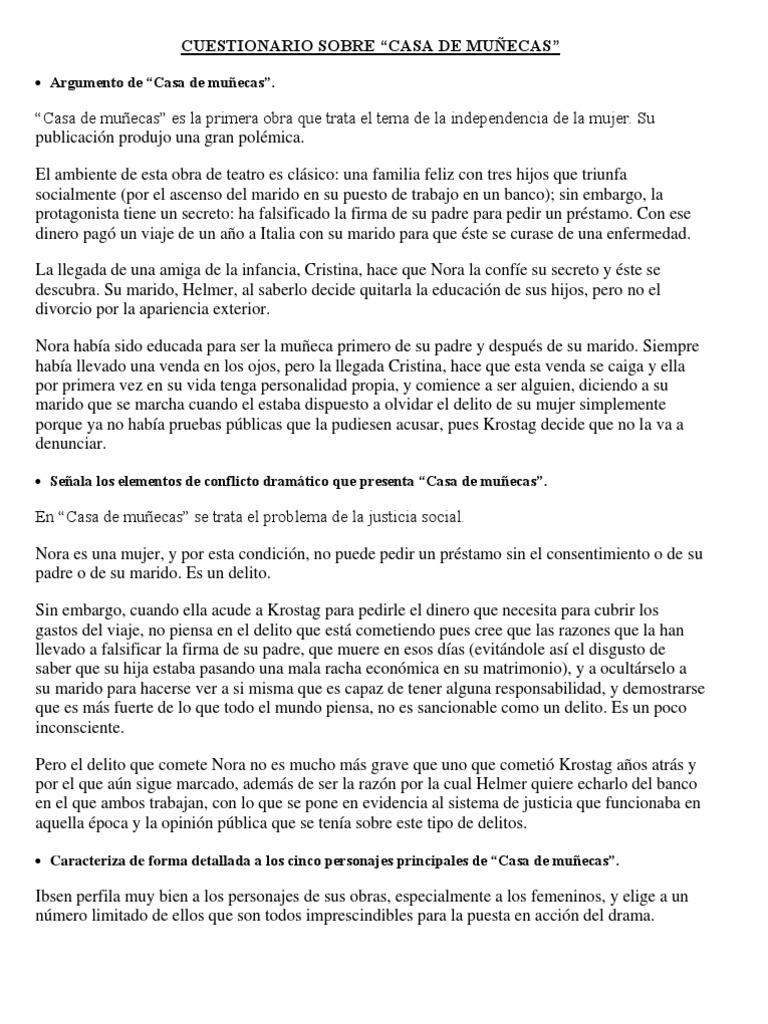 Casa De Muñecas Cuestionario Una Casa De Muñecas Delito