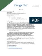 Google Fiber Response to McClendon Complaint (as FILED 072913)