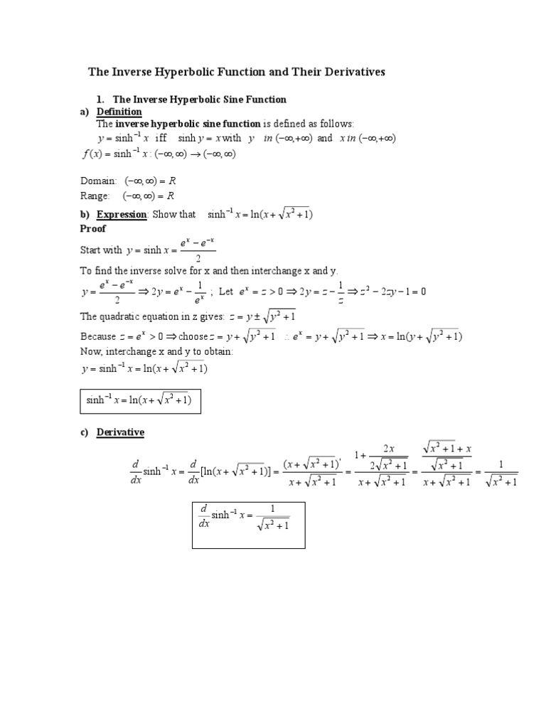 The Inverse Hyperbolic Functionpdf Trigonometric Functions
