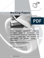 How Location Decisions Influence Transport Costs of Processed and Unprocessed Bioenergy Digestates the Impact of Plant Size and Location on Profitability of Biogas Plants in Germany