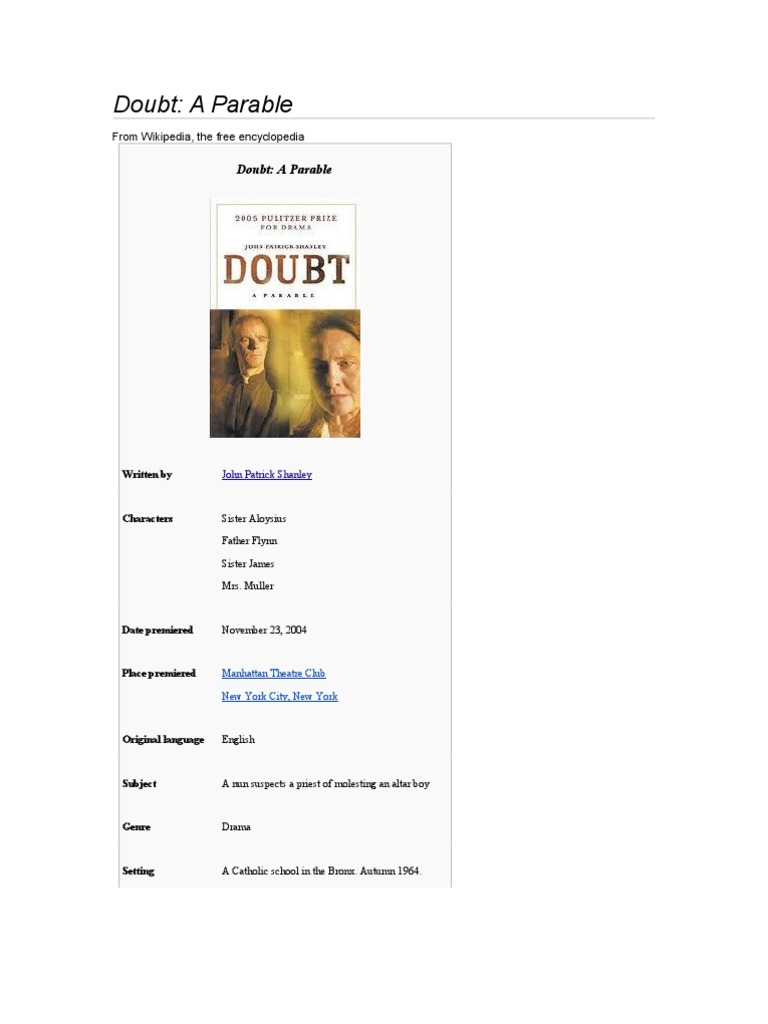 Doubt A Parable Tony Awards Broadway Theatre