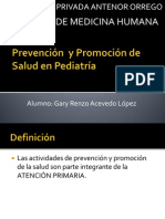 Prevención  y Promoción de Salud en Pediatría