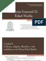 Unidad 6 La Plena Edad Media Cultura, Filosofía y vida cotidiana
