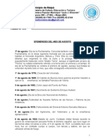 Efemérides AGOSTO_ - Biblioteca Municipal JJ Elizondo - Mun. Maipu