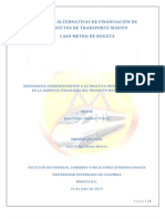20110123 - Fuentes Alternativas de Financiación de Proyectos de Infraestructura Caso Metro de Bogota
