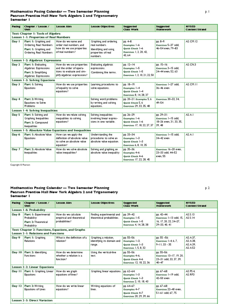 pearson algebra 2 trigonometry two semester pacing calendar | Trigonometric  Functions | Quadratic Equation