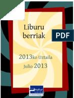 2013ko uztaileko liburu berriak -- Novedades julio 2013