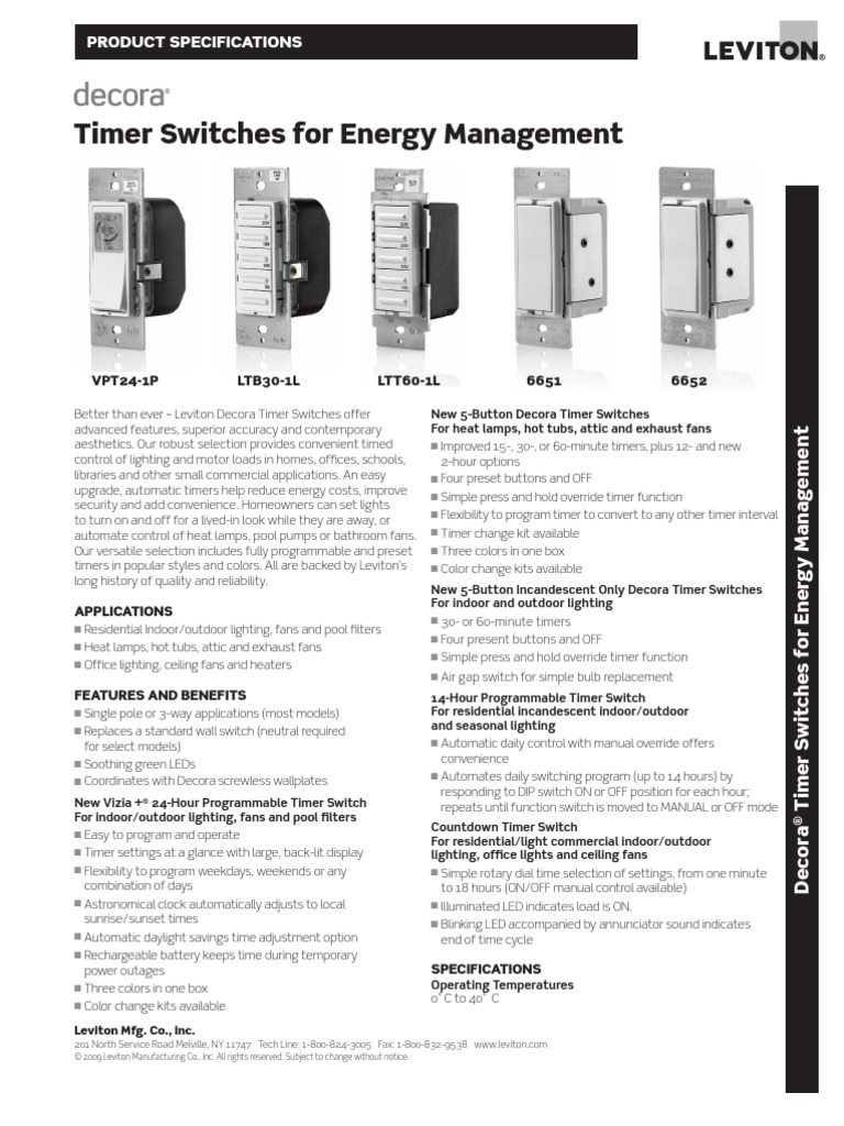 Decora Timer Spec Sheet | Timer | Lighting