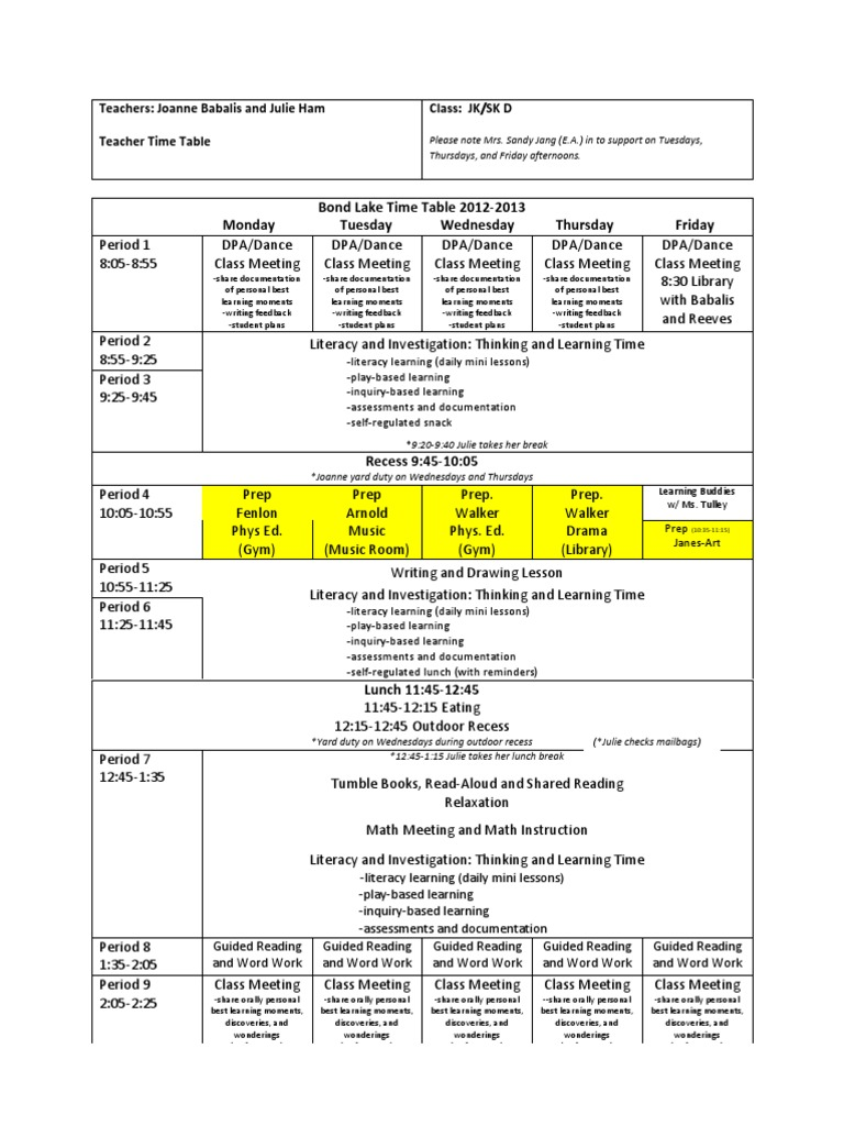 Joanne babalis teacher time table for Inquiry based learning lesson plan template