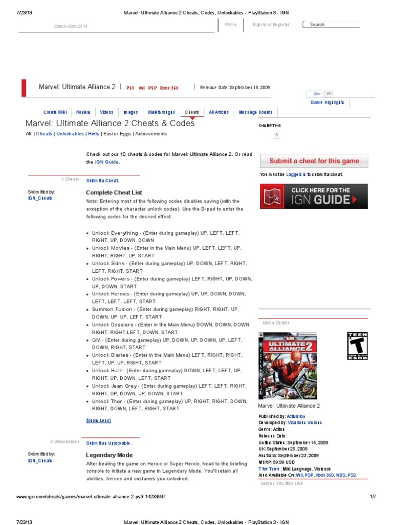 Marvel: ultimate alliance xbox360 walkthrough and guide page.