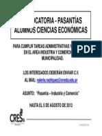 2013-8 CONVOCATORIA Alumnos CsEc - Industria y Comercio