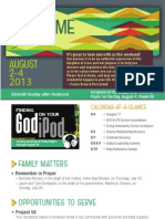Church Bulletin for August 2 & 4, 2013