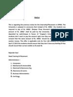 Notice of Internship Training