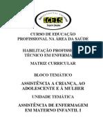ASSISTÊNCIA DE ENFERMAGEM EM MATERNO INFANTIL I