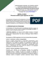 Edital 2012 Mestrado Ufes Ciencias Sociais