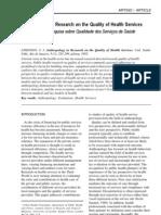ATKINSON, Sarah J. Antropologia e Pesquisa sobre Qualidade dos Serviços de Saúde.