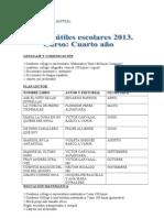 UTILES ESCOLARES 4° 2013