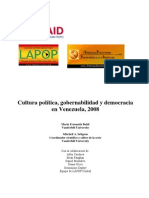 2008 Cultura Politica Gobernabilidad y Democracia en Venezuela 2008[1]. Boidi Final