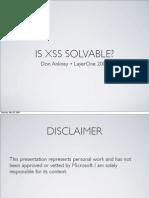 Is XSS Solvable?