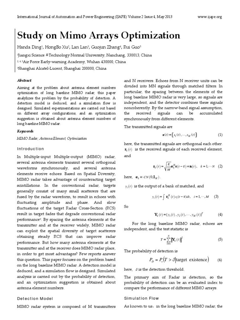 Study on Mimo Arrays Optimization   Mimo   Radar