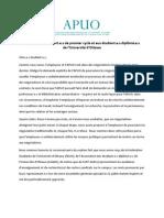 APUO -- lettre aux étudiant.e.s -- 1er août 2013
