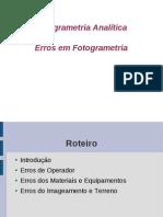 Fotogrametria Analítica UD I Ass 02 - Erros em Fotogrametria_2013