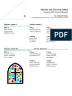 Lectors Schedule for August 2013