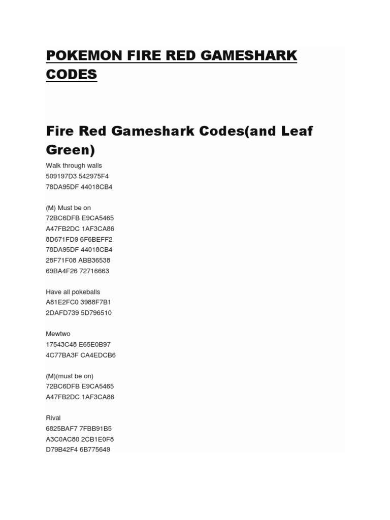 pokemon fire red cheats codebreaker walk through walls